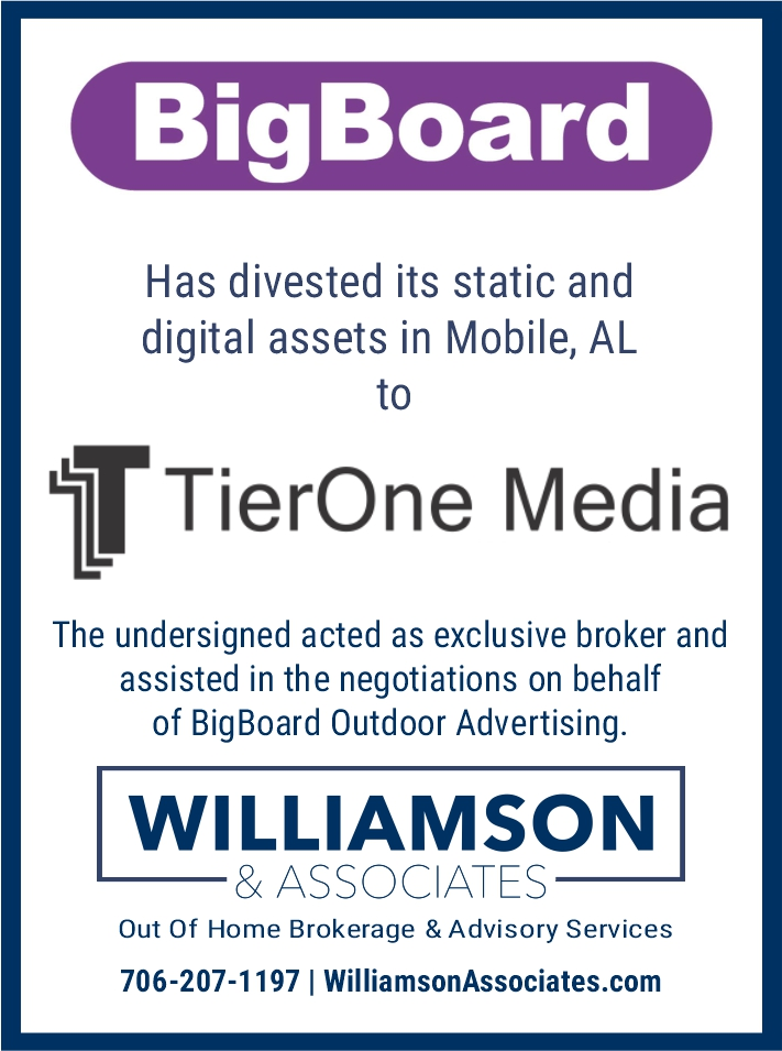Bigboard Divests Mobile Alabama Outdoor Advertising Assets to TierOne Media