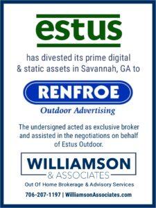 Estus Outdoor Divests OOH assets in Savannah, GA to Renfroe Outdoor