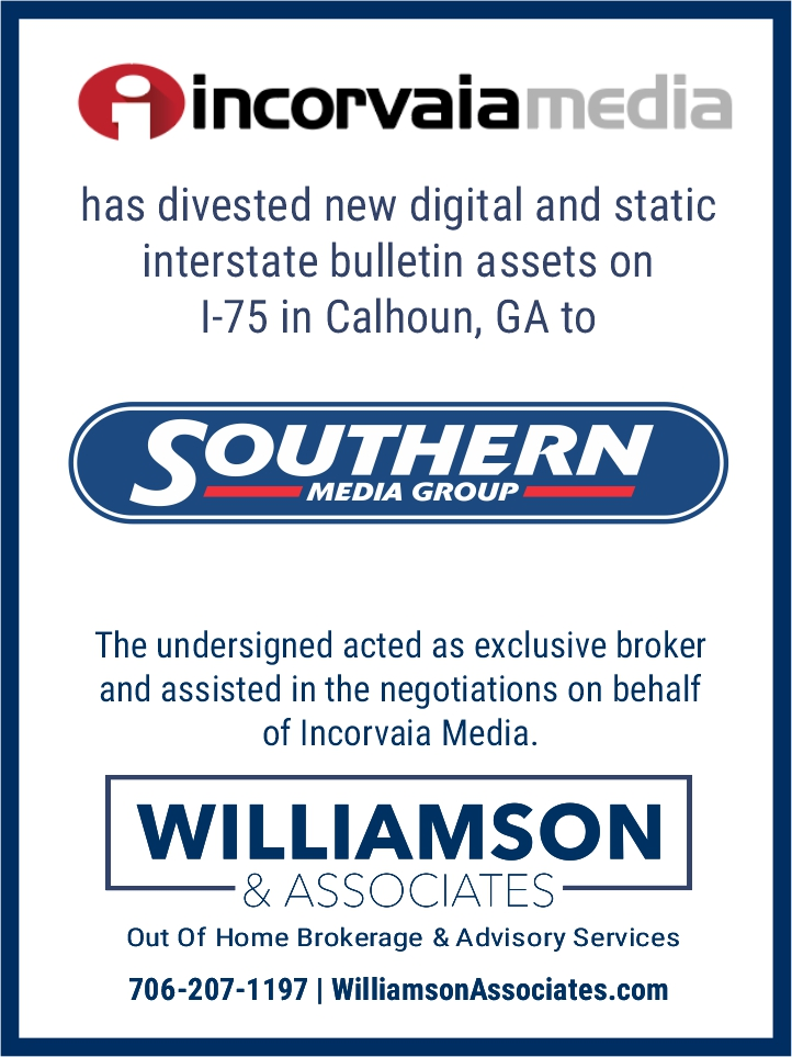 Incorvaia Media Divests OOH assets in Calhoun, GA to Southern Media Group