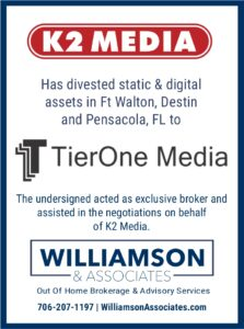 K2 Media divests outdoor advertising assets to tierone media