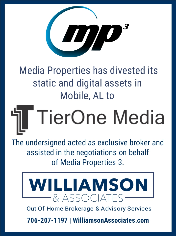 Media Properties 3 Divests Mobile Alabama Outdoor Advertising Assets to TierOne Media
