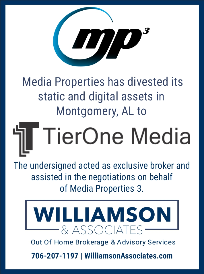 Media Properties 3 divests outdoor advertising assets in montgomery alabama to tierone media