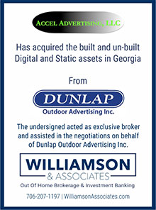 accel advertising acquired digital and static outdoor assets in georgia from dunlap outdoor advertising