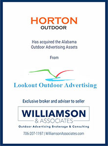 Horton Outdoor has aquired Alabama outdoor advertising assets from Lookout Outdoor Advertising
