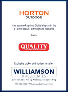 Horton Outdoor has acquired a digital display Birmingham, Alabama from Quality Outdoor Advertising