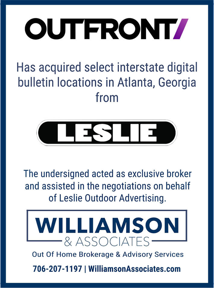 Outfront acquires interstate digital bulletin locations in Atlanta from Leslie Outdoor Advertising