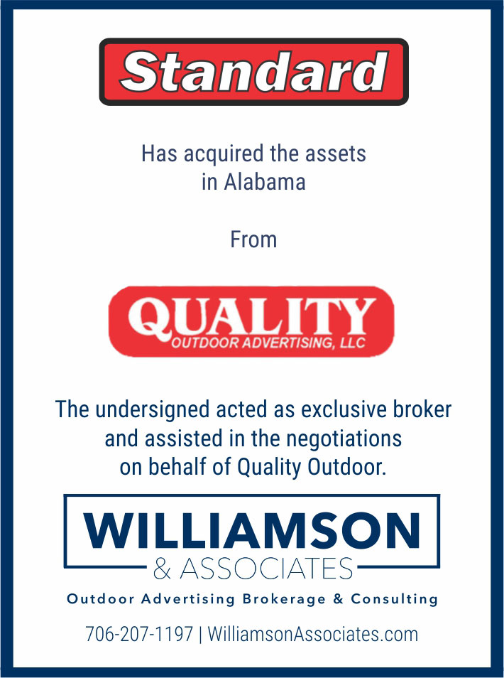 Standard has acquired assets in Alabama from Quality Outdoor Advertising