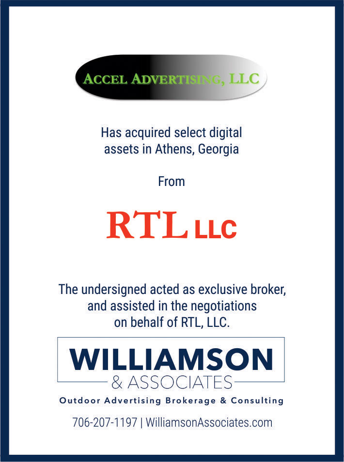 Accel Advertising has acquired select digital assets in Athens, GA from RTL, LLC