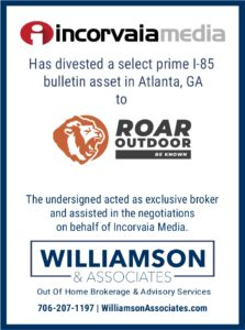 Incorvaia media divests outdoor advertising location to Roar outdoor