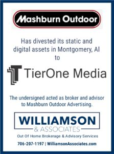 Mashburn Outdoor divests outdoor advertising assets in montgomery alabama to tierone media