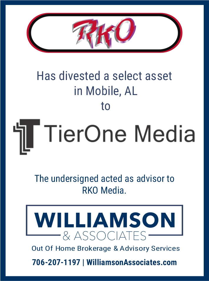 RKO Divests Mobile Alabama Outdoor Advertising Assets to TierOne Media