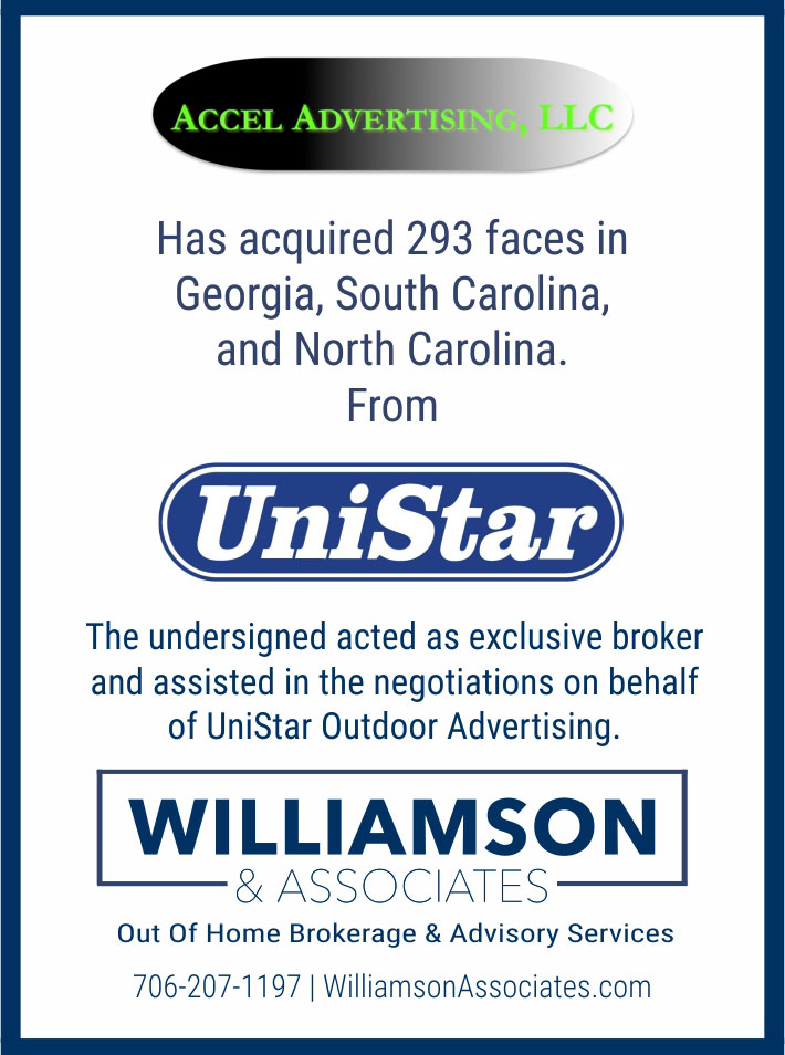 accel advertising acquired outdoor assets from unistar