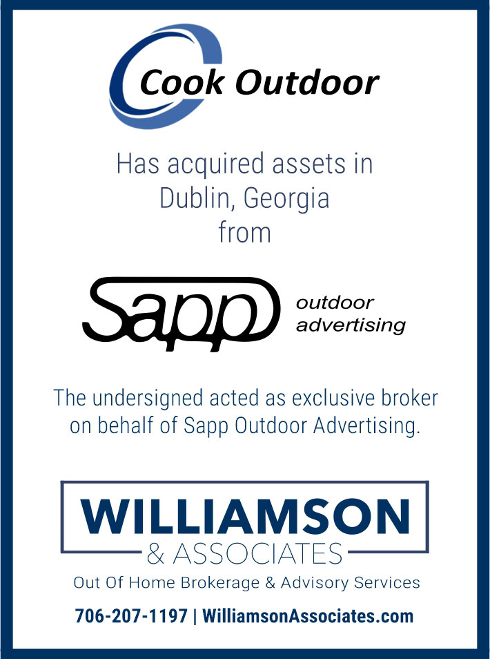 Cook Outdoor acquired assets in Dublin, GA from Sapp Outdoor Advertising