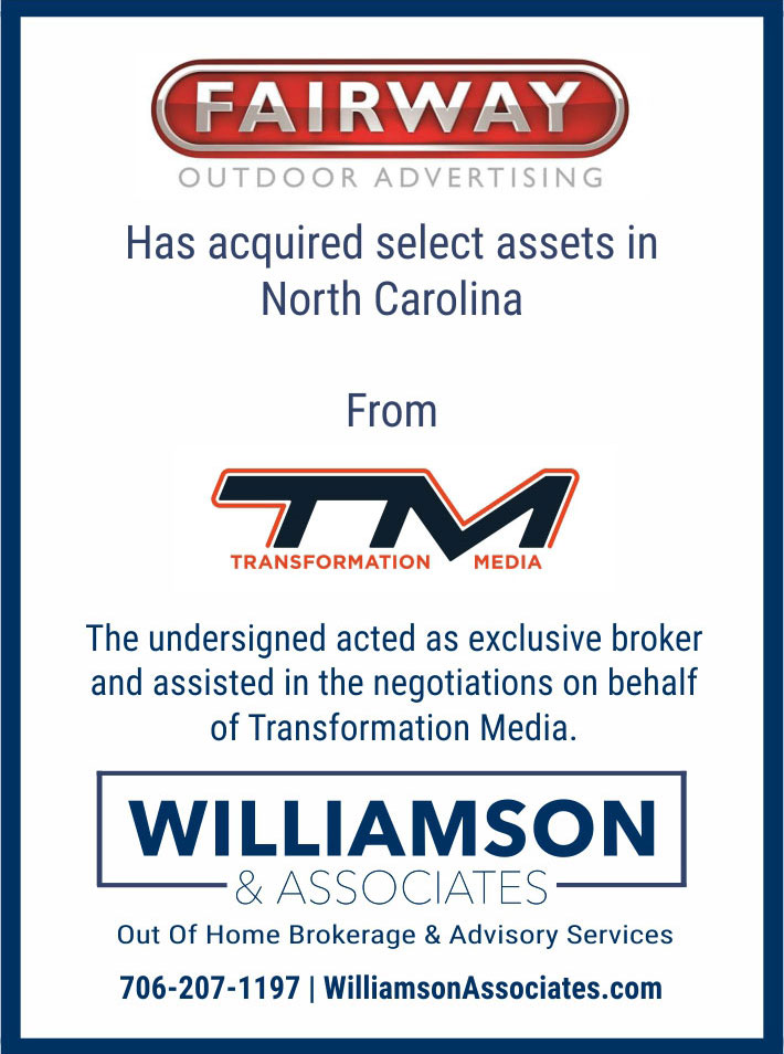 fairway outdoor acquired assets in NC from transformation media