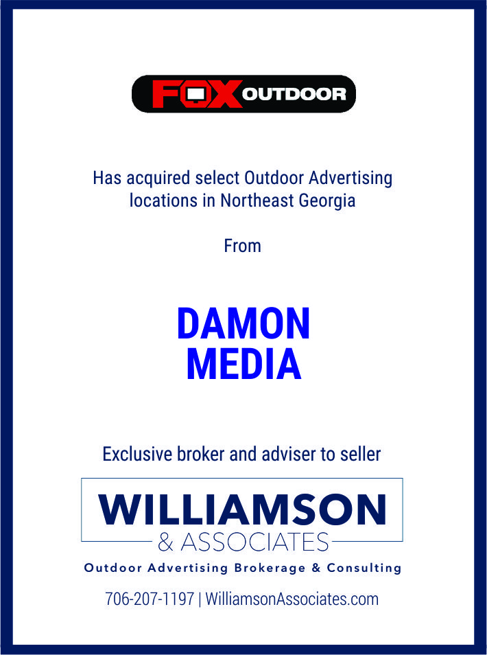 Fox Outdoor has aquired select outdoor ad locations in Northeast Georgia from Damon Media