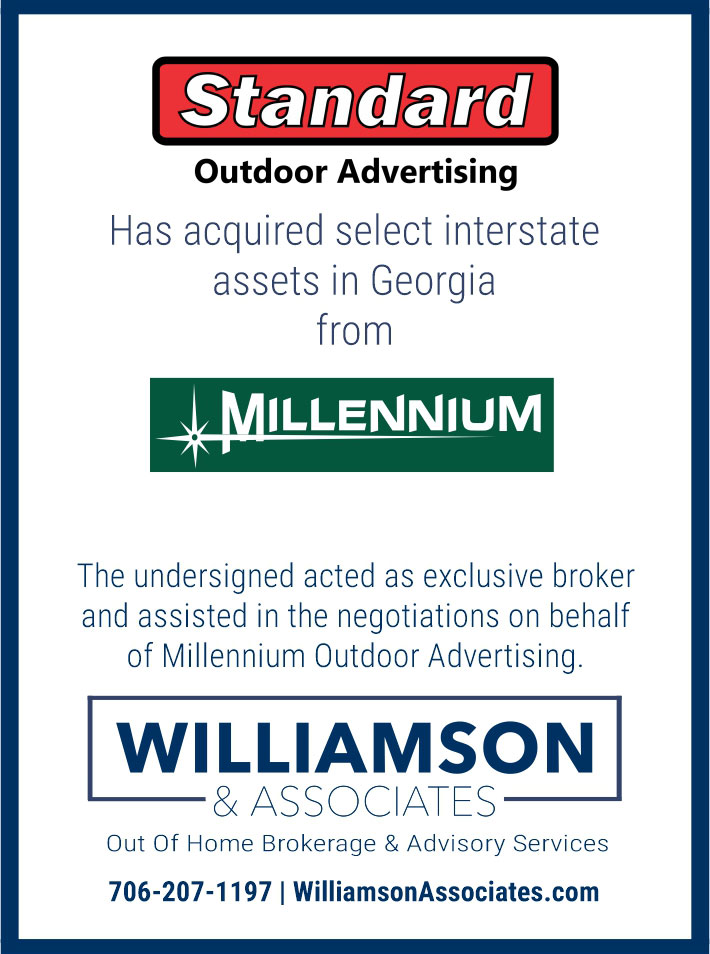 standard outdoor advertising acquired GA interstate assets from millennium outdoor advertising