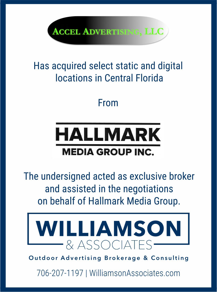 accel advertising has acquired static and digital locations in central florida from hallmark media group